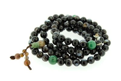 Mala Beads,Tibetan Style Default Astonishing Striped Agate and Jade Tibetan Mala ml138