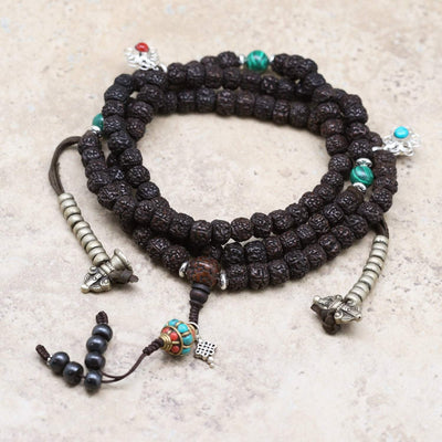 Mala Beads Traditional Tibetan Rudraksha Mala ML655A