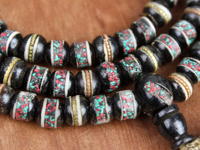 Mala Beads Vintage Black Bone Bead Prayer Mala ML533