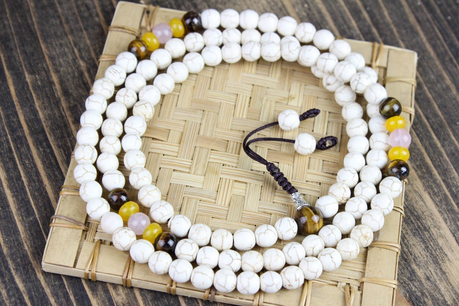 Mala Beads Wonderful Imagination 108 Bead Magnesite Mala ML524