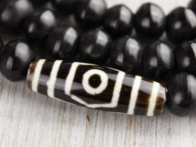 Mala Beads Wood Bead and Dzi Mala with Antique Coral Spacers ML572