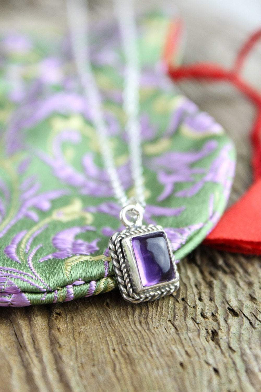 Necklaces Amethyst Charm Necklace with Mala Gift Bag JN690