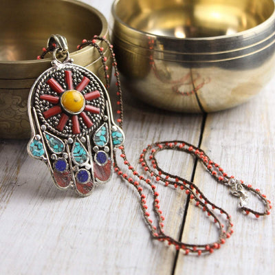 Necklaces Colorful Hamsa Necklace JN699