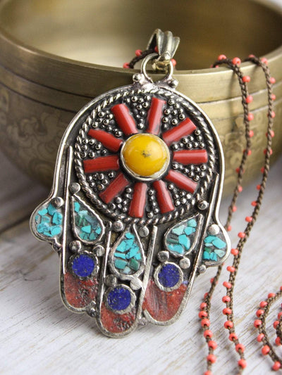 Colorful Hamsa Necklace