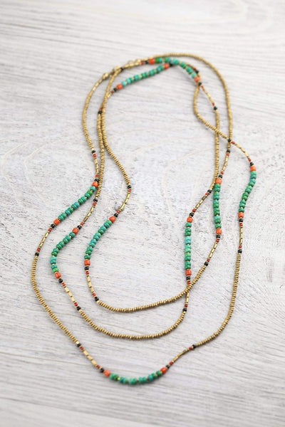 Necklaces Colorful Turquoise and Gold Wrap Necklace JN711