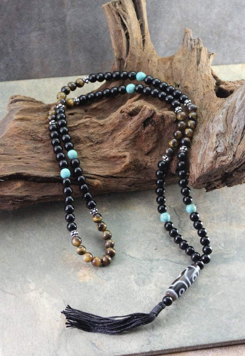 Necklaces Default 3 Eye Dzi Beads Necklace with Tiger Eye and Turquoise jn285