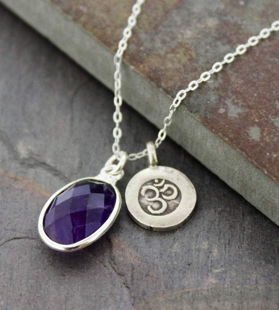 Necklaces Default Amethyst and Om Crown Chakra Necklace jn311