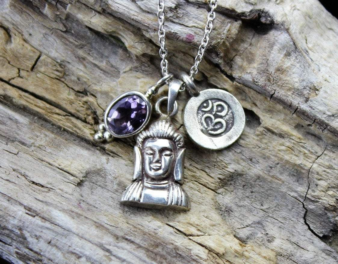 Necklaces Default Amethyst and Sterling Buddha Charm Necklace jn354