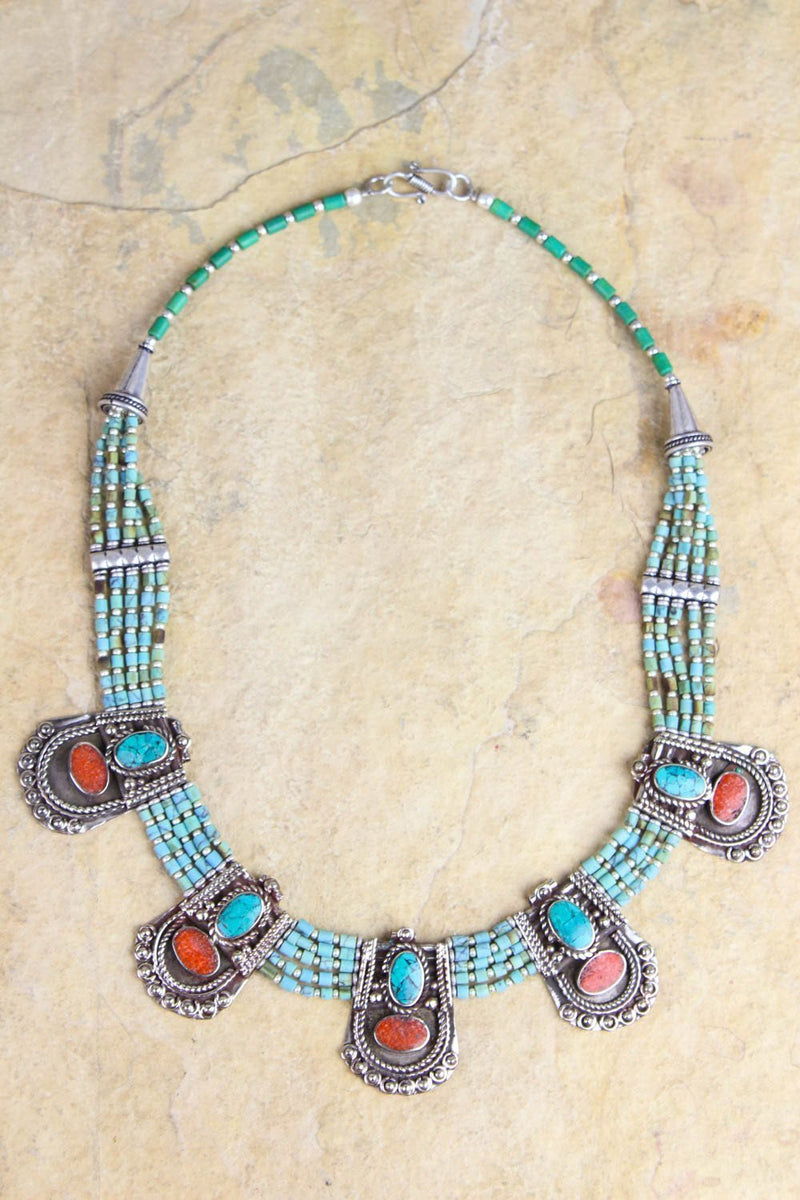 Necklaces Default Annapurna Turquoise Tibetan Necklace jn555