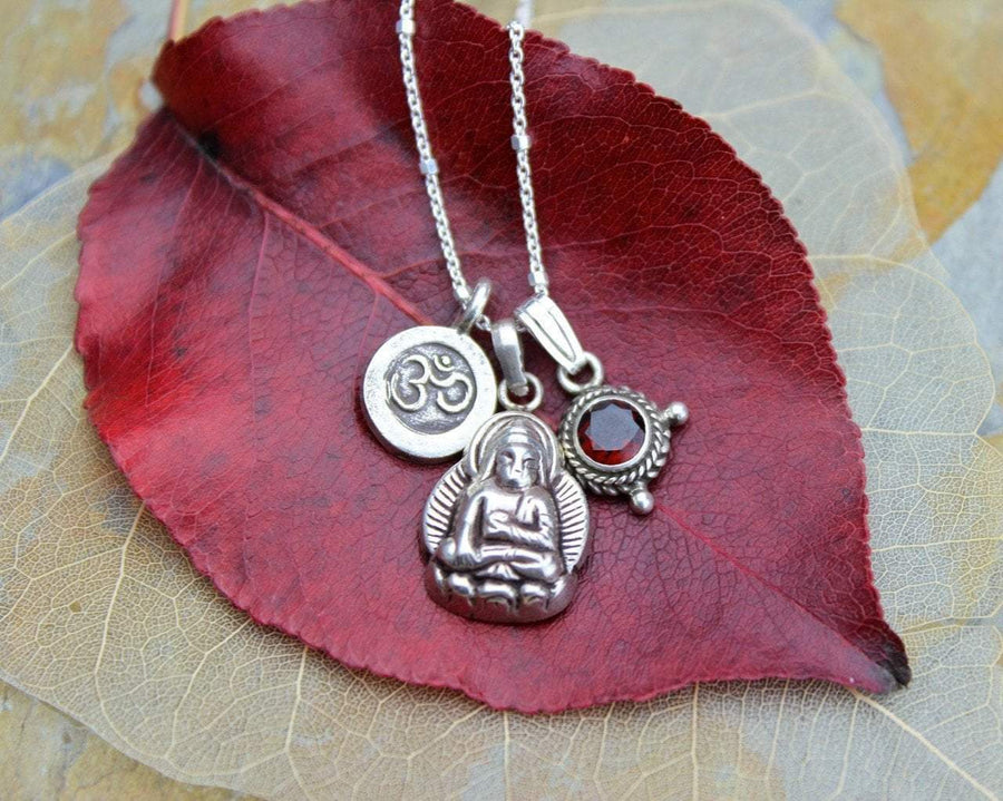 Necklaces Default Buddha Om and Garnet Necklace jn377