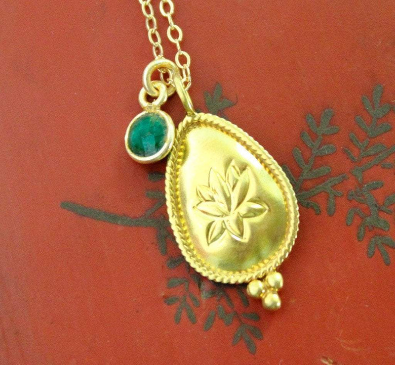 Necklaces Default Emerald Lotus Necklace jn309