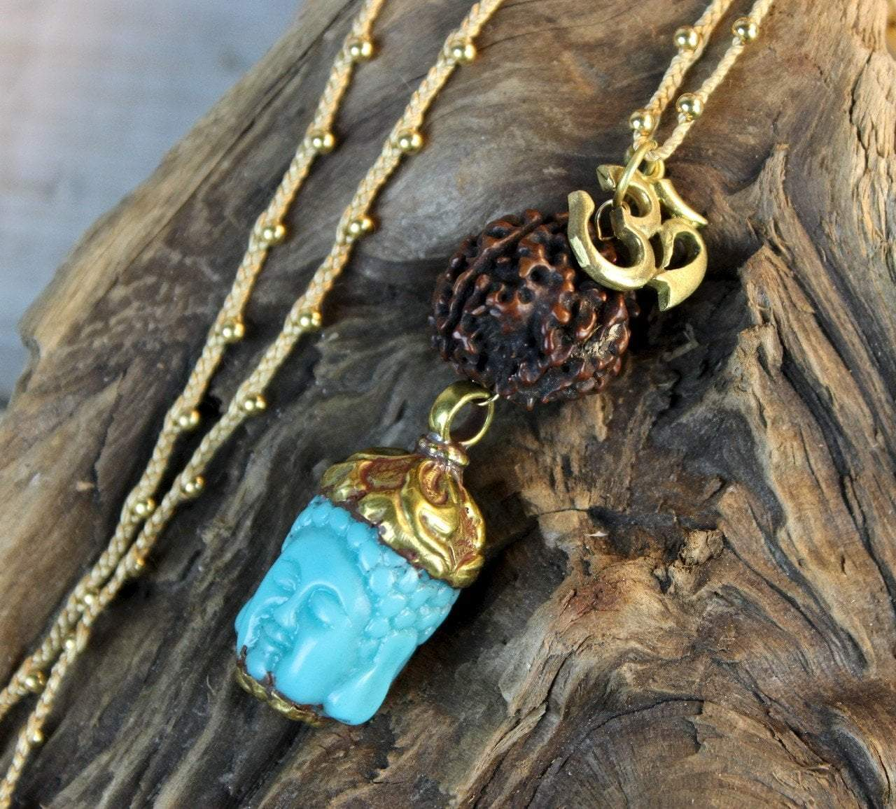 Necklaces Default Good Fortune Turquoise Buddha Necklace jn439