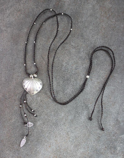 Necklaces Default Hill Tribe Heart and Feather Necklace jn327
