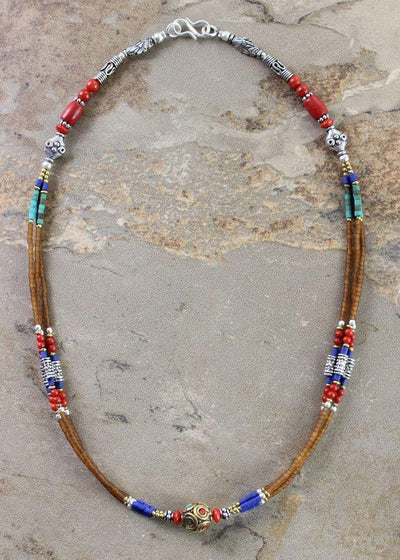 Necklaces Default Lapis Coral and Turquoise Necklace jn055