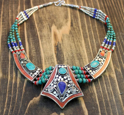 Necklaces Default One of a Kind Turquoise and Lapis Necklace jn179