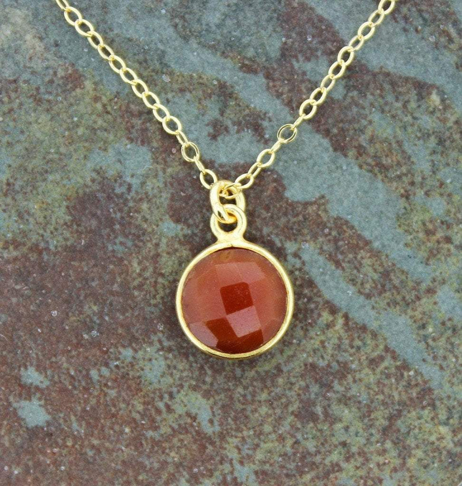 Necklaces Default Root Chakra Carnelian and Gold Necklace jn312