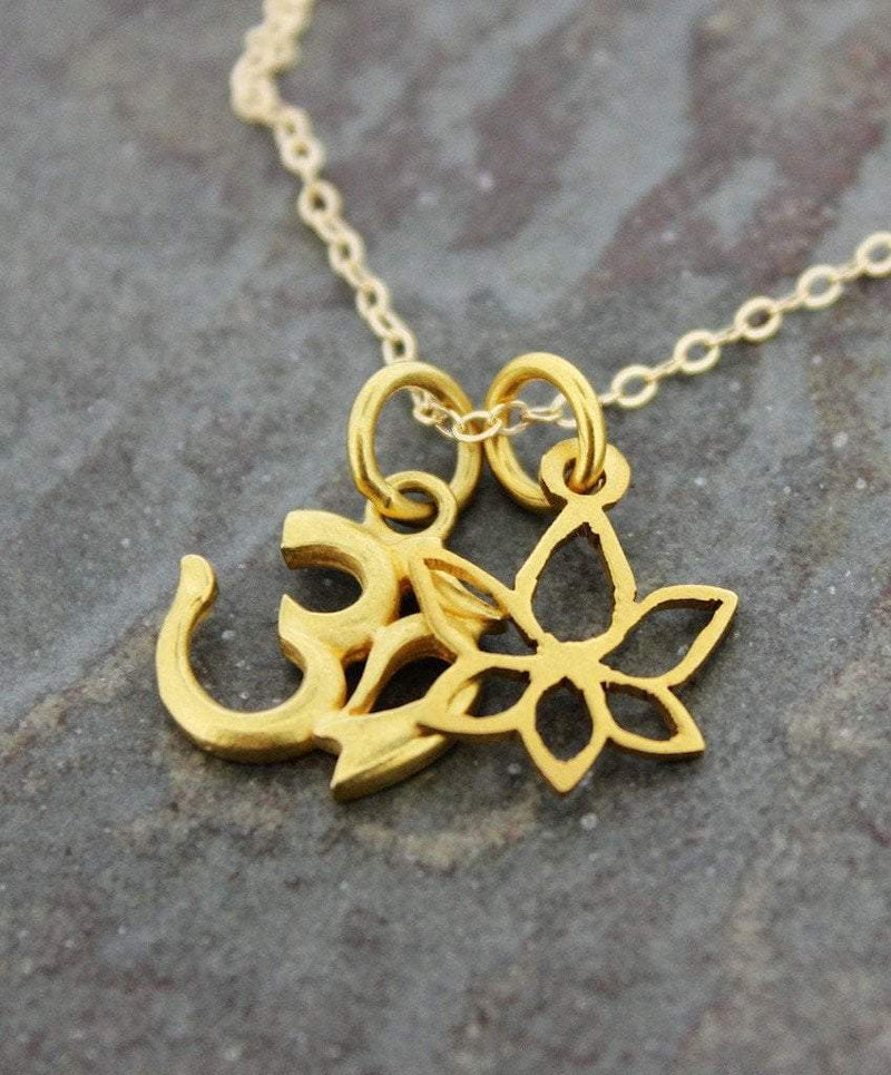 Necklaces Default Sanskrit Om and Lotus Gold Necklace jn256