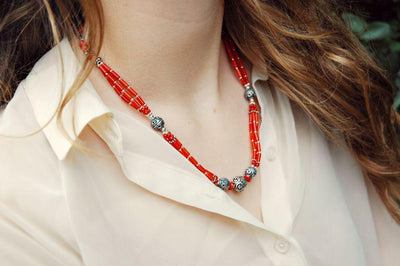 Necklaces Default Sherpa Coral Necklace with Silver Focal Beads jn129