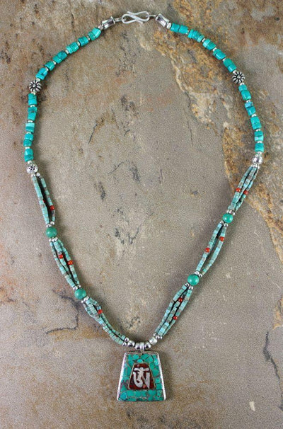 Necklaces Default Sterling Silver Turquoise and Coral Tibetan Om Necklace jn066