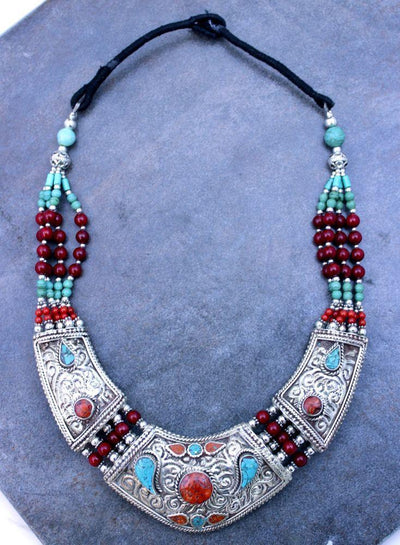 Necklaces Default Stunning Tibetan Turquoise and Carnelian Necklace jn118
