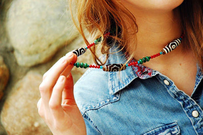 Necklaces Default Tibetan Dzi Necklace with Coral and Turquoise jn130