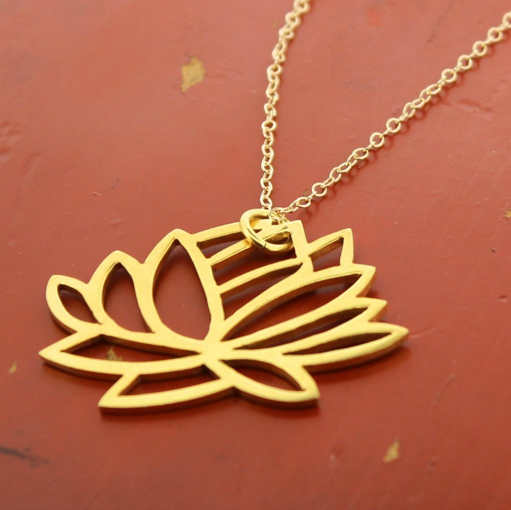 Necklaces Default Tibetan Gold Lotus Necklace jn254
