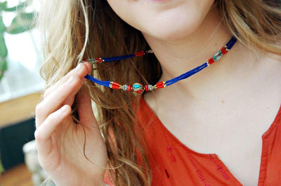 Necklaces Default Tibetan Traditional Beaded Necklace Lapis jn097