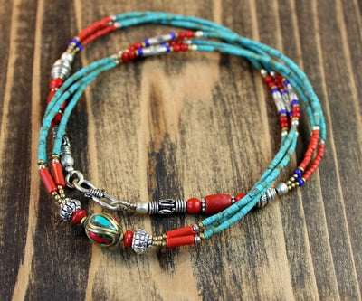 Necklaces Default Traditional Beaded Turquoise 21 Inch Necklace jn103