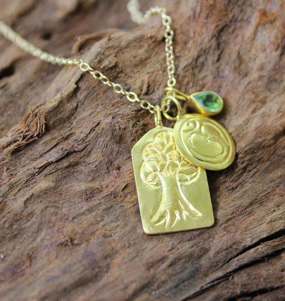 Necklaces Default Tree of Life Om and Emerald Necklace jn291