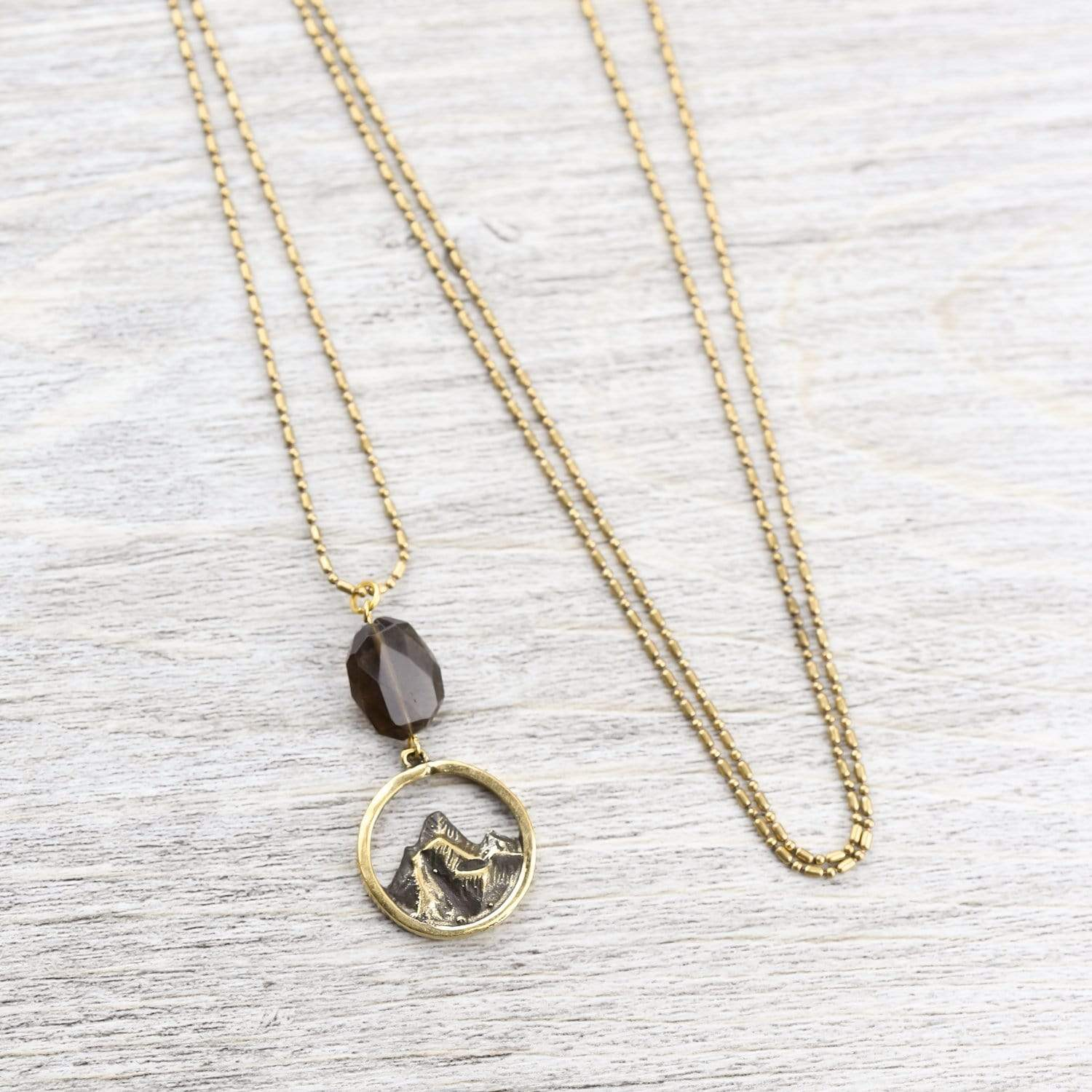 Necklaces Everest Necklace with Smoky Quartz JN803