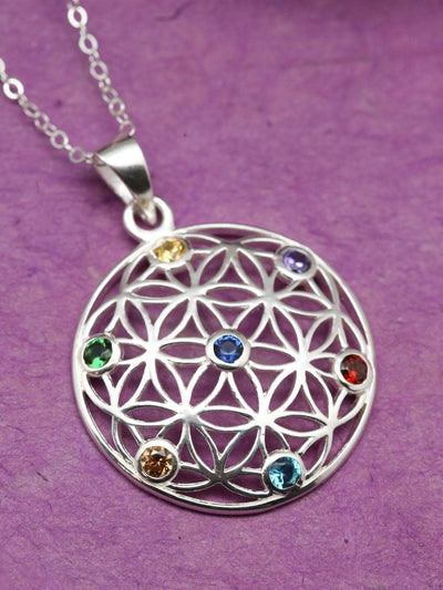 Necklaces Flower of Life Chakra Gemstone Necklace JN773