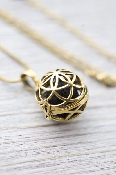 Necklaces Flower of Life Diffuser Necklace JN810