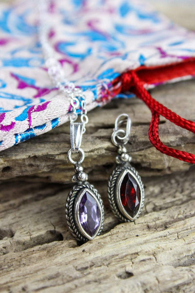 Necklaces Garnet and Amethyst Charm Necklace Gift Set JN688