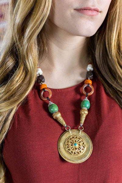 Necklaces Gold Dorje Medallion One of a Kind Necklace jn613