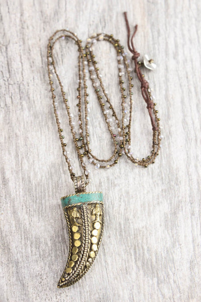 Necklaces Horn of Tibet Necklace with Jeweled Chain JN618