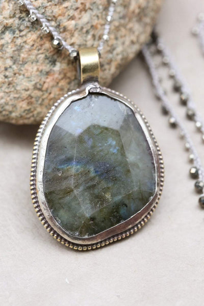 Necklaces Labradorite Gemstone Pendant Necklace JN786
