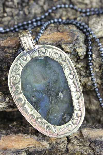 Necklaces Labradorite Skull Impermanence Necklace JN668