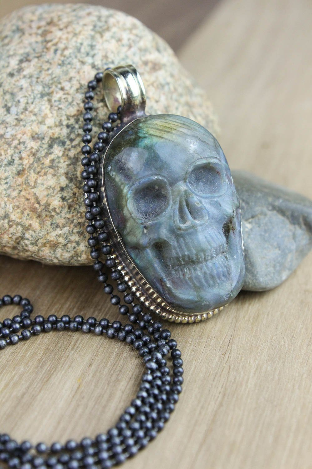 Necklaces Large Labradorite Skull Necklace JN666