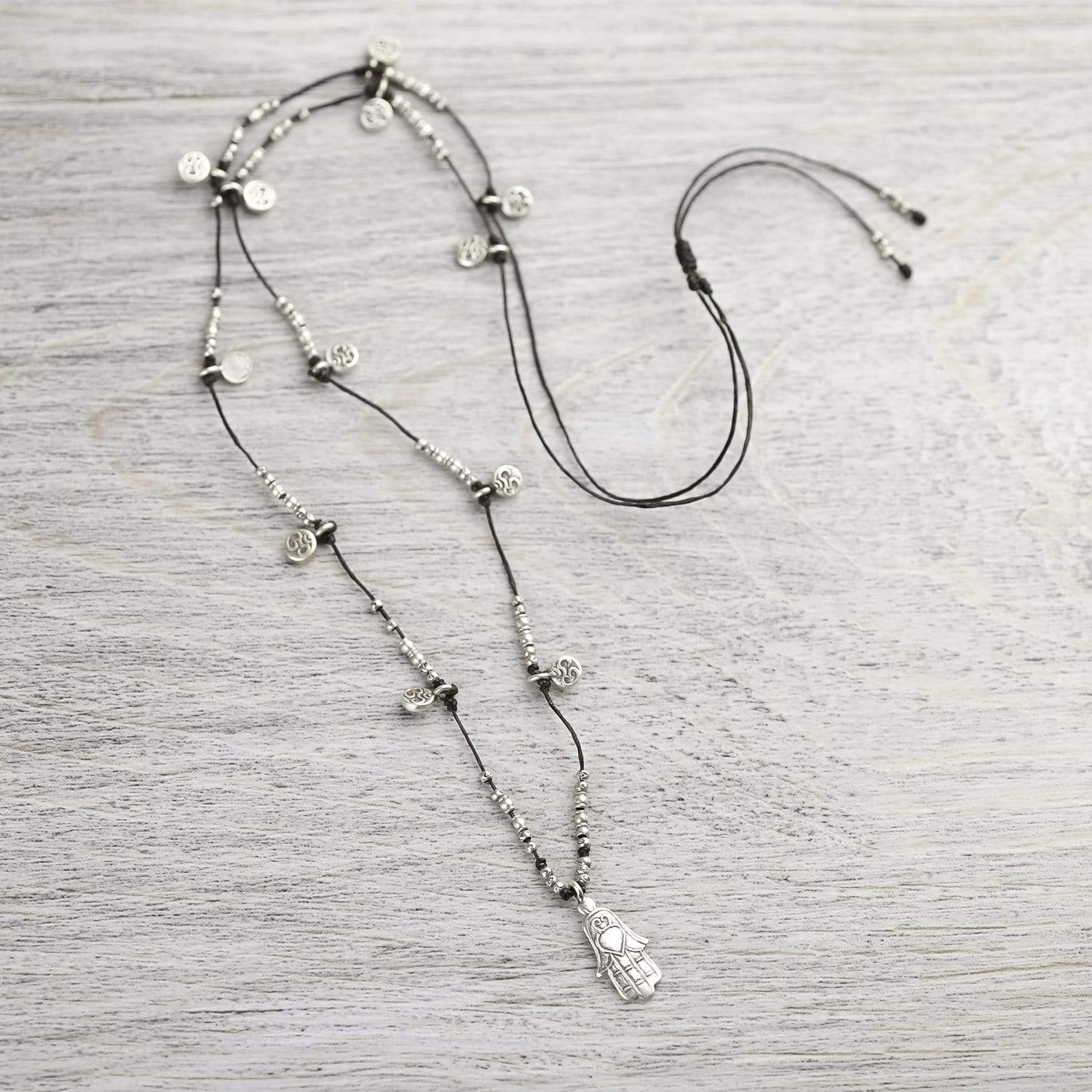 Necklaces Om Hamsa Silver Necklace JN581