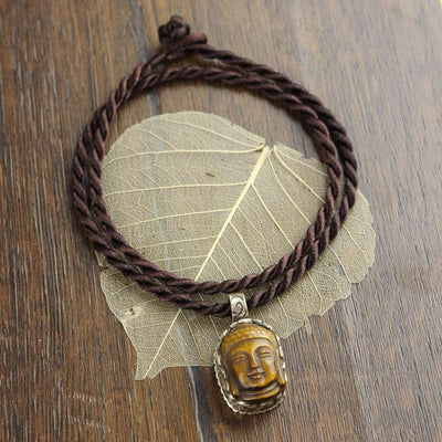 Necklaces Protective Tiger Eye Buddha Necklace JN724