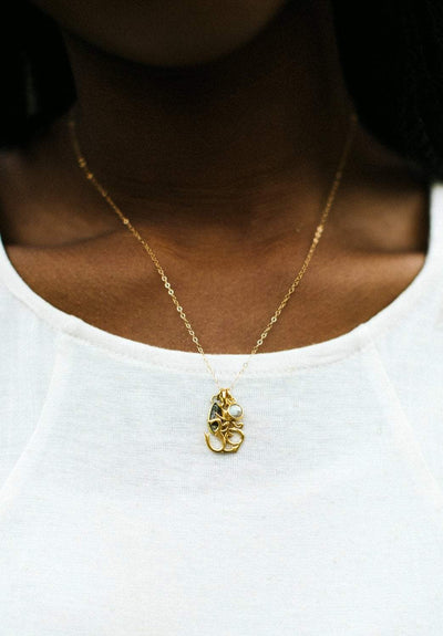 Necklaces Sacred Om Gold Charm Necklace JN747