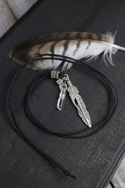Necklaces Silver Feather Truth and Health Necklace JN640