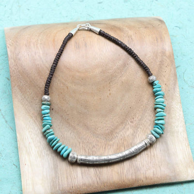Necklaces Soothing Turquoise and Hill Tribe Silver Necklace JN768