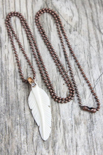 necklaces Spiritual Ascension Bone Feather Necklace JN676