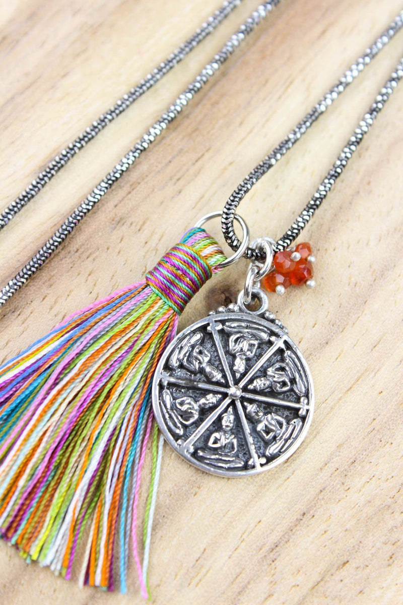 Necklaces Sterling Thai Buddha Necklace with Tassel JN685