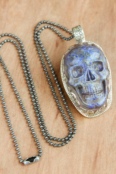 Necklaces Strength and Stability Lapis and Pyrite Skull Necklace JN669