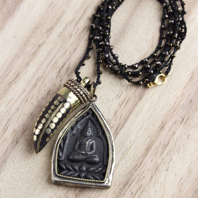 Necklaces Tibetan Horn with Thai Amulet Necklace JN663