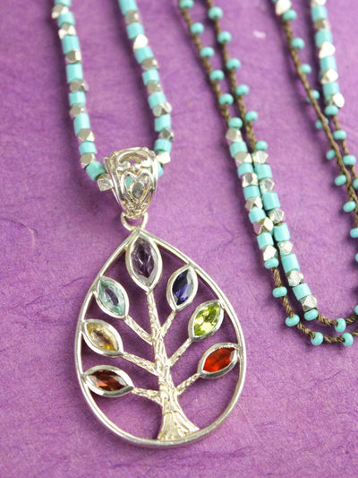 Necklaces Tree of Life Chakra Gemstone Necklace JN732