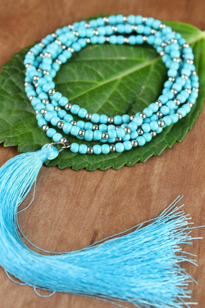 Necklaces Turquoise and Silver Wrap Necklace with Tassel JN662