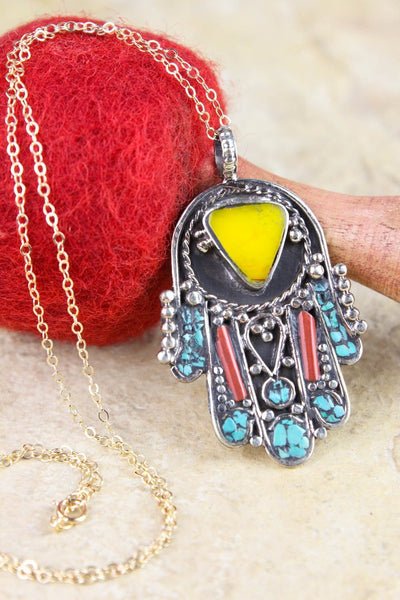 Necklaces Vibrant Hamsa Bliss Necklace JN665
